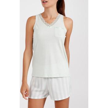 Vêtements Femme Pyjamas / Chemises de nuit Admas Pyjama short débardeur Classic Stripes vert Vert