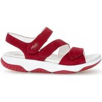 Chaussures Femme Sandales sport Gabor Sandales à semelles plates suede Rouge