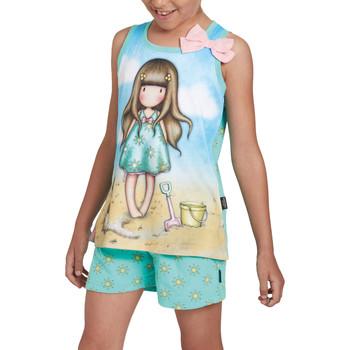 Vêtements Fille Pyjamas / Chemises de nuit Admas Pyjama fille short débardeur Hello Summer Santoro Bleu