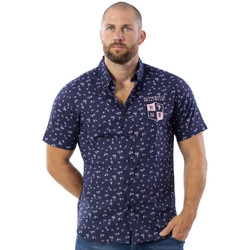 Vêtements Homme Chemises manches courtes Ruckfield Chemise marine fleurie we are rugby Noir