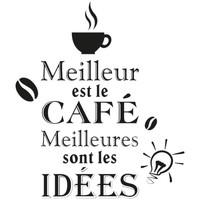 Maison & Déco Stickers Retro Autocollant Mural MEILLEUR EST LE CAFE Noir