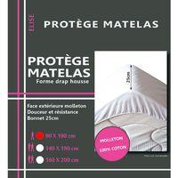 Maison & Déco Draps housse Gadget Et Bazar Alèse en coton molleton 90 x 190 cm Blanc