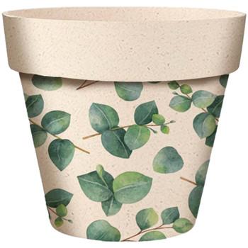 Maison & Déco Vases, caches pots d'intérieur Zen Et Ethnique Cache Pot en Bambou Motif eucalyptus 6 cm Beige
