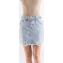 Vêtements Femme Jupes Toxik3 Jupe strass avec ceinture Bleu jean clair