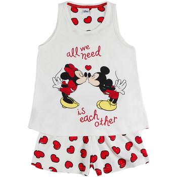 Vêtements Fille Pyjamas / Chemises de nuit Admas Pyjama fille short débardeur Love Mouse Disney ivoire Ivoire