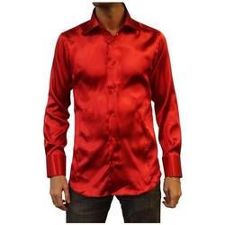 Vêtements Homme Chemises manches longues Kebello Chemise en satin Taille : H Rouge S Rouge