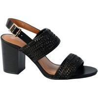 Chaussures Femme Sandales et Nu-pieds The Divine Factory Sandale Talon QL3923 Noir Tresse