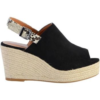Chaussures Femme Sandales et Nu-pieds The Divine Factory Sandale Compensée Noir