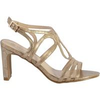 Chaussures Femme Sandales et Nu-pieds The Divine Factory Sandale a Talon TDF 4113 Or Lezard