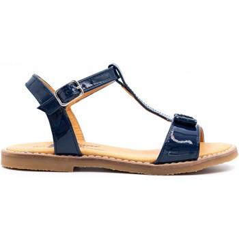 Chaussures Fille Sandales et Nu-pieds Boni & Sidonie Sandales en cuir vernis à boucles - BLANCA Bleu Marine