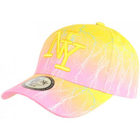 Accessoires textile Casquettes Hip Hop Honour Casquette NY Jaune et Rose Originale Fashion Baseball Eclyr Jaune
