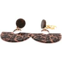Montres & Bijoux Femme Boucles d'oreilles Brillaxis Boucles d'oreilles clip acétate léopard Jaune