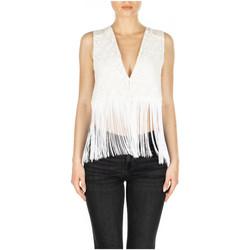Vêtements Femme Gilets / Cardigans GaËlle Paris GILET MACRAME FRANGE bianco