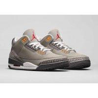 Chaussures Baskets montantes Nike Air Jordan 3 Cool Grey Silver/Light Graphite-Orange Peel-Sport Red
