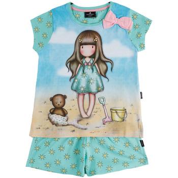 Vêtements Fille Pyjamas / Chemises de nuit Admas Pyjama fille short t-shirt Hello Summer Santoro bleu Bleu