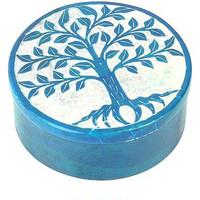 Maison & Déco Paniers, boites et corbeilles Zen Et Ethnique Boite déco Bleu en Stéatite Arbre de Vie Bleu