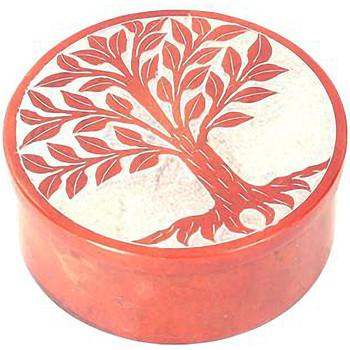 Maison & Déco Paniers, boites et corbeilles Zen Et Ethnique Boite déco Orange en Stéatite Arbre de Vie Orange