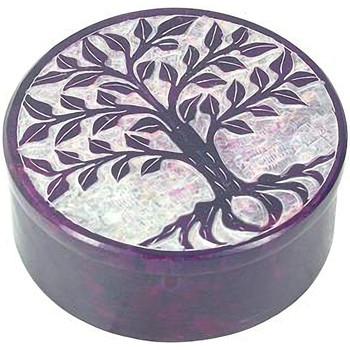 Maison & Déco Paniers, boites et corbeilles Zen Et Ethnique Boite déco Violette en Stéatite Arbre de Vie Violet