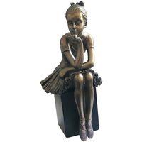 Maison & Déco Statuettes et figurines Danseuse - Ballerine Statuette Danseuse de collection aspect bronze 15 cm Doré