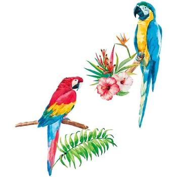 Maison & Déco Stickers Le Monde Des Animaux Stickers Muraux Perroquets Multicolore