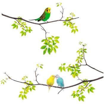 Maison & Déco Stickers Gadget Et Bazar Stickers Muraux perruches sur branches Vert