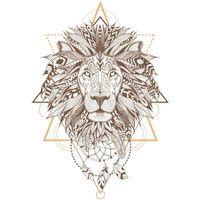 Maison & Déco Stickers Indiens D'amérique Stickers Muraux Style Indien : Lion Marron