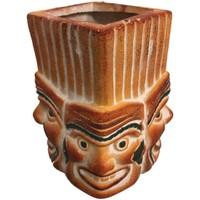 Maison & Déco Vases, caches pots d'intérieur Indiens D'amérique Jarre déco 4 Visages expressions variées Orange