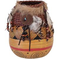 Maison & Déco Vases, caches pots d'intérieur Indiens D'amérique Vase déco d'inspiration Amérindienne 21 cm Orange