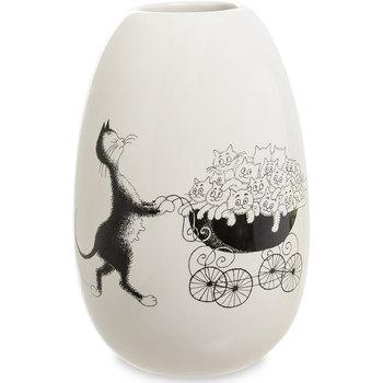 Maison & Déco Vases, caches pots d'intérieur Les Chats De Dubout Vase en céramique rond Chats par Dubout Blanc