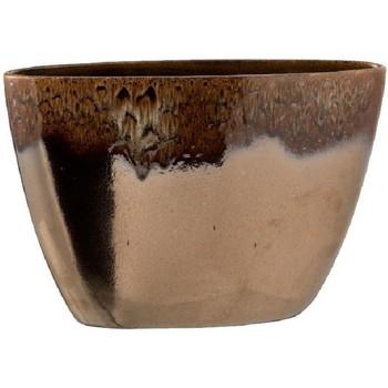 Maison & Déco Vases, caches pots d'intérieur Zen Et Ethnique Pot de Fleur en céramique marbrée Marron