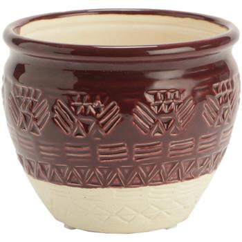 Maison & Déco Vases, caches pots d'intérieur Zen Et Ethnique Pot de Fleur Maya Bordeaux en céramique Bordeaux