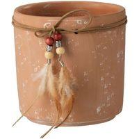 Maison & Déco Vases, caches pots d'intérieur Zen Et Ethnique Cache Pot  de Fleur Plumes terracotta Orange