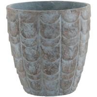 Maison & Déco Vases, caches pots d'intérieur Zen Et Ethnique Pot de Fleur reliefs écailles céramique Bleu