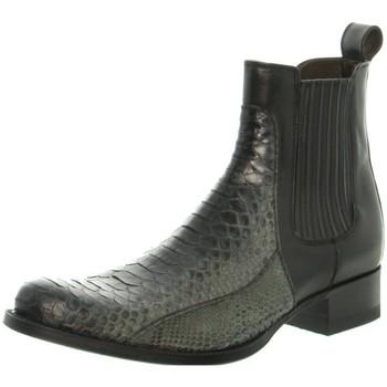 Chaussures Homme Boots Sendra boots Bottes  Dier en cuir ref_47664 Noir Piton Bar.Fant.Ps Gris Bartolo NegroHauteur tige