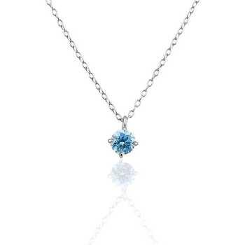 Montres & Bijoux Femme Colliers / Sautoirs Cleor Collier  en Argent 925/1000 Blanc et Oxyde Bleu Blanc