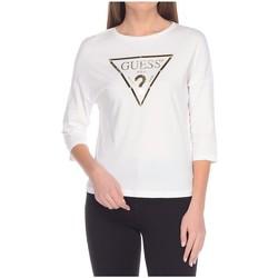 Vêtements Femme T-shirts & Polos Guess T-Shirt Femme Manches 3/4 Plastic Blanc Blanc