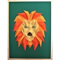 Maison & Déco Tableaux, toiles Polygone Origami Lion Orange Jaune Vert