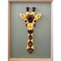 Maison & Déco Tableaux, toiles Polygone Origami Girafe Jaune Marron Vert