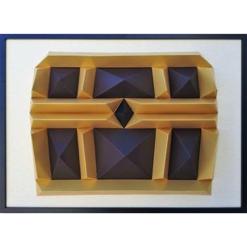 Maison & Déco Tableaux, toiles Polygone Origami Coffre de Pirate Marron Doré