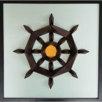 Maison & Déco Tableaux, toiles Polygone Origami Barre de Bateau Ciel et Marron
