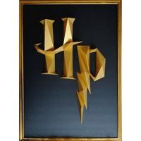 Maison & Déco Tableaux, toiles Polygone Origami Logo Harry Potter Noir et doré