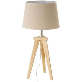 Maison & Déco Lampes à poser Esprit Nordique Lampe de table en bois clair et abat-jour couleur Lin Beige