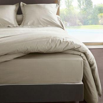 Maison & Déco Draps housse Vent Du Sud Drap housse en percale de coton 80 fils 180 x 200 x 30 cm Beige