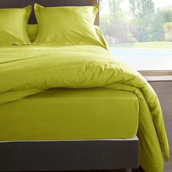 Maison & Déco Draps housse Vent Du Sud Drap housse en percale de coton 80 fils 180 x 200 x 30 cm Vert