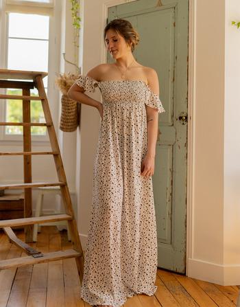 Vêtements Femme Robes longues Céleste PATCHOULI Ecru / Noir