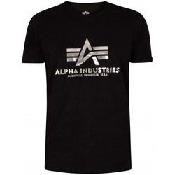 Vêtements Homme T-shirts manches courtes Alpha Basic Foil Print Noir