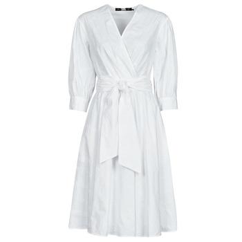Vêtements Femme Robes courtes Karl Lagerfeld LOGO EMROIDERED SHIRT DRESS Blanc
