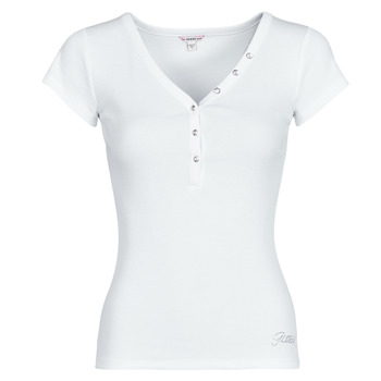 Vêtements Femme T-shirts manches courtes Guess ES SS V NECK LOGO HENLEY TEE Blanc