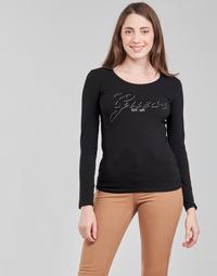 Vêtements Femme T-shirts manches longues Guess LS CN RAISA TEE Noir