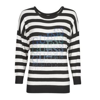 Vêtements Femme Pulls Guess CLAUDINE BAT SLEEVE SWTR Noir / Blanc